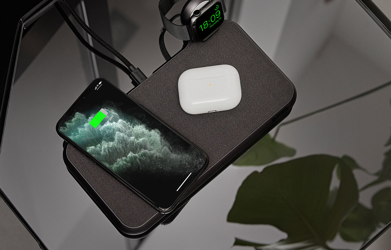 Liberty Wireless charger with iPhone, Airpods and Apple Watch