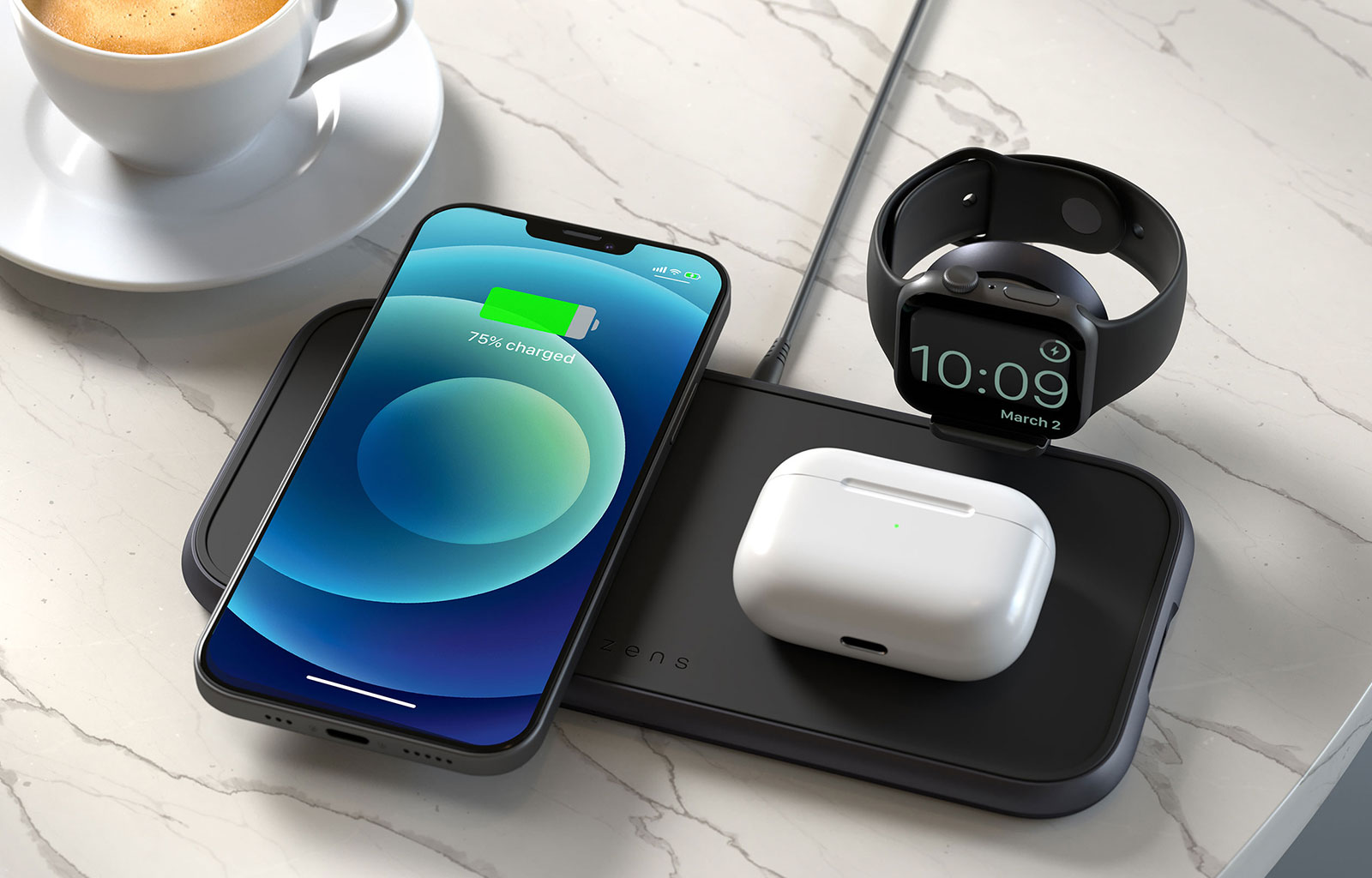Wireless Charger 4-in-1 with iPhone, Airpods and Apple Watch