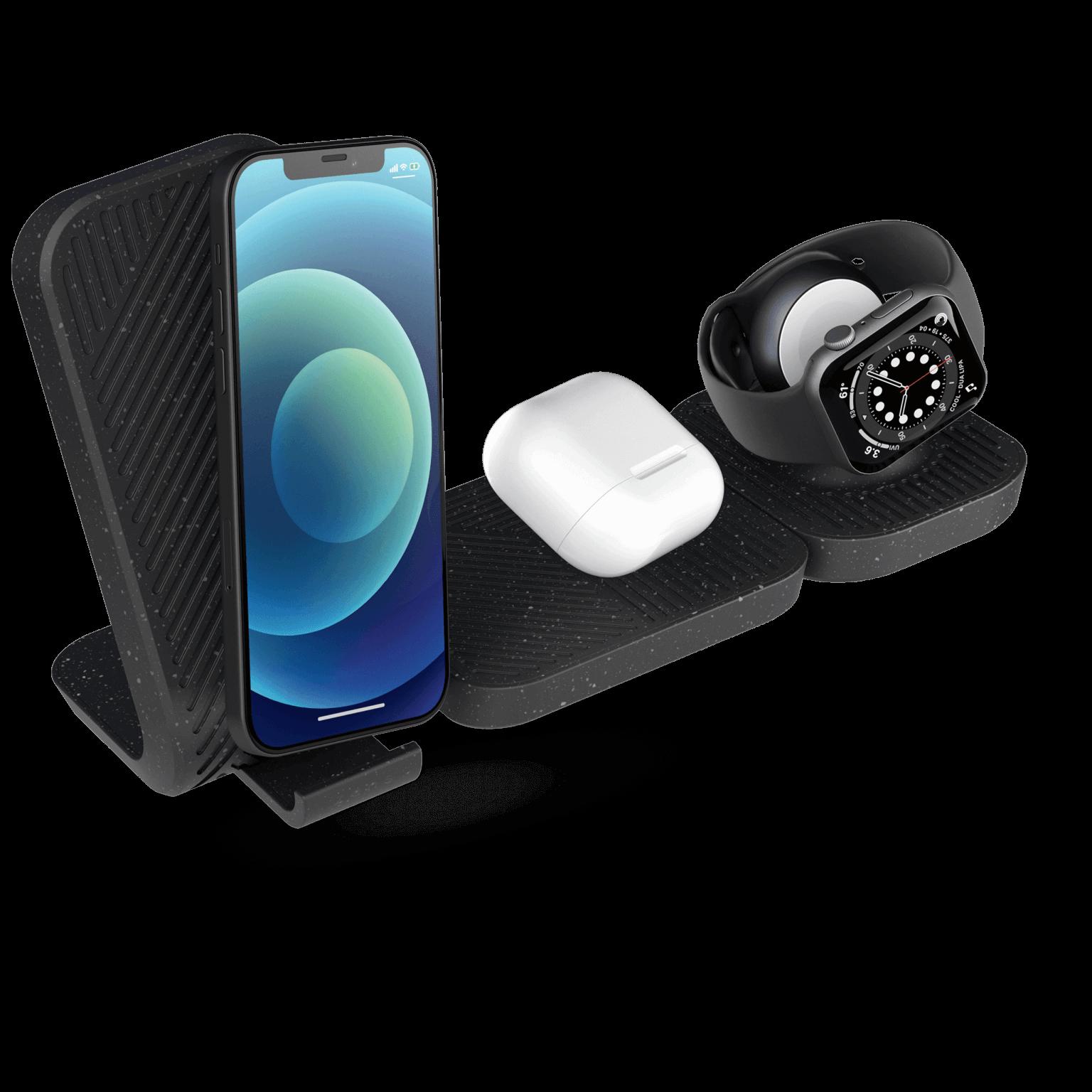 Modular draadloze oplader met iPhone 12, AirPods en Apple Watch