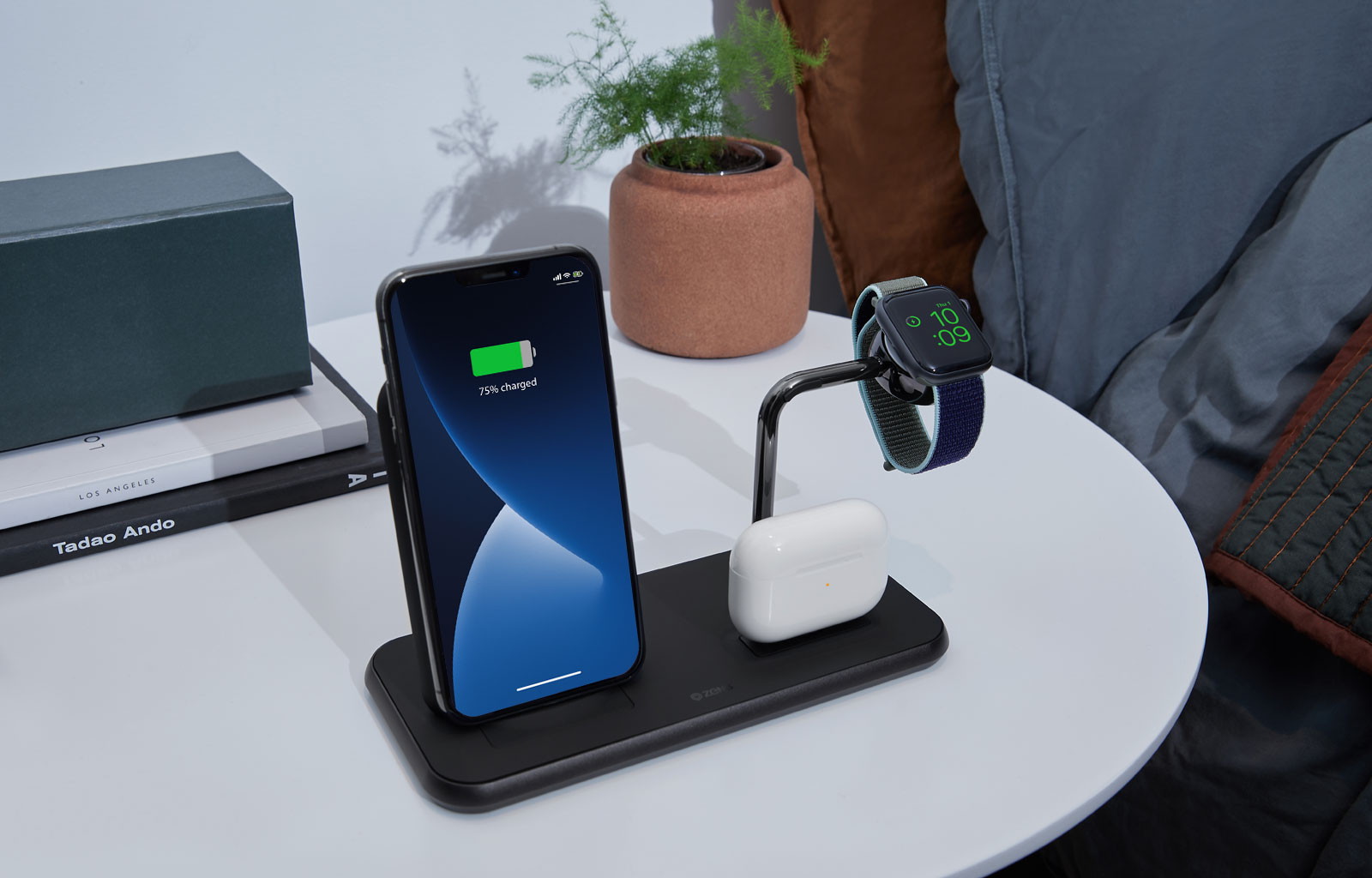 Wireless charger on bedside table