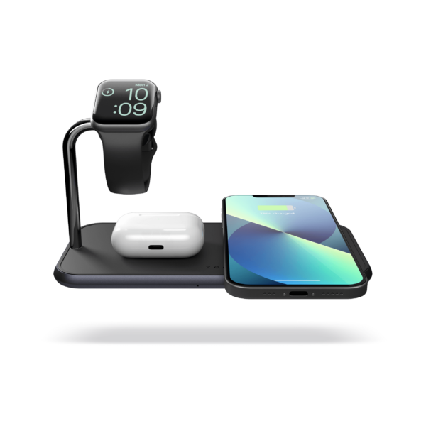 ZEDC05B - Zens Dual+Watch Aluminium Wireless Charger Top View iPhone13