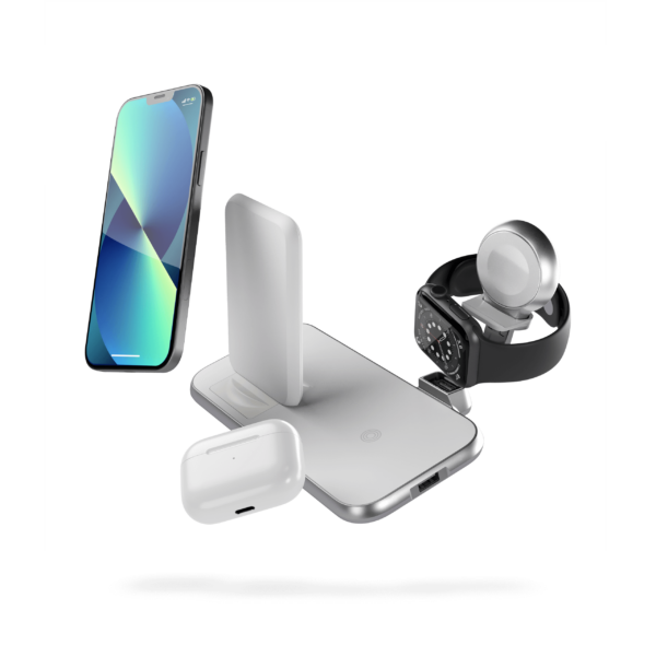 ZEDC15W - 4 in 1 Stand+Watch Wireless Charger Aluminium Floating Devices with iPhone 13