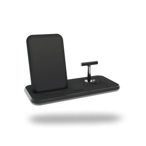 Stand+Dock Aluminium Wireless Charger - Black side view