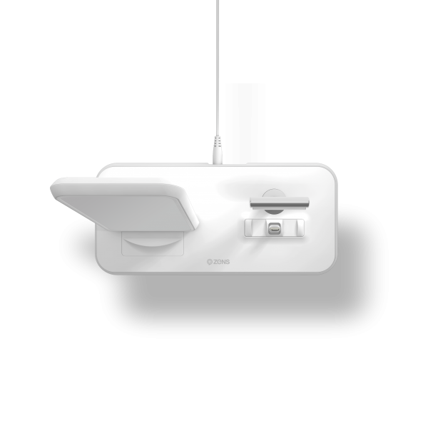 Stand+Dock Aluminium Wireless Charger - White top view