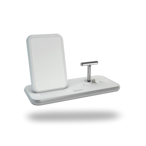 Stand+Dock Aluminium Wireless Charger - White side view