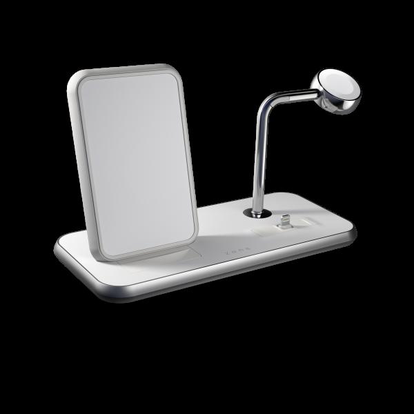 Stand + Dock + Watch Aluminium Wireless Charger - White