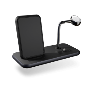 ZEDC07B - Zens Stand+Dock+Watch Aluminium Wireless Charger Front Side View