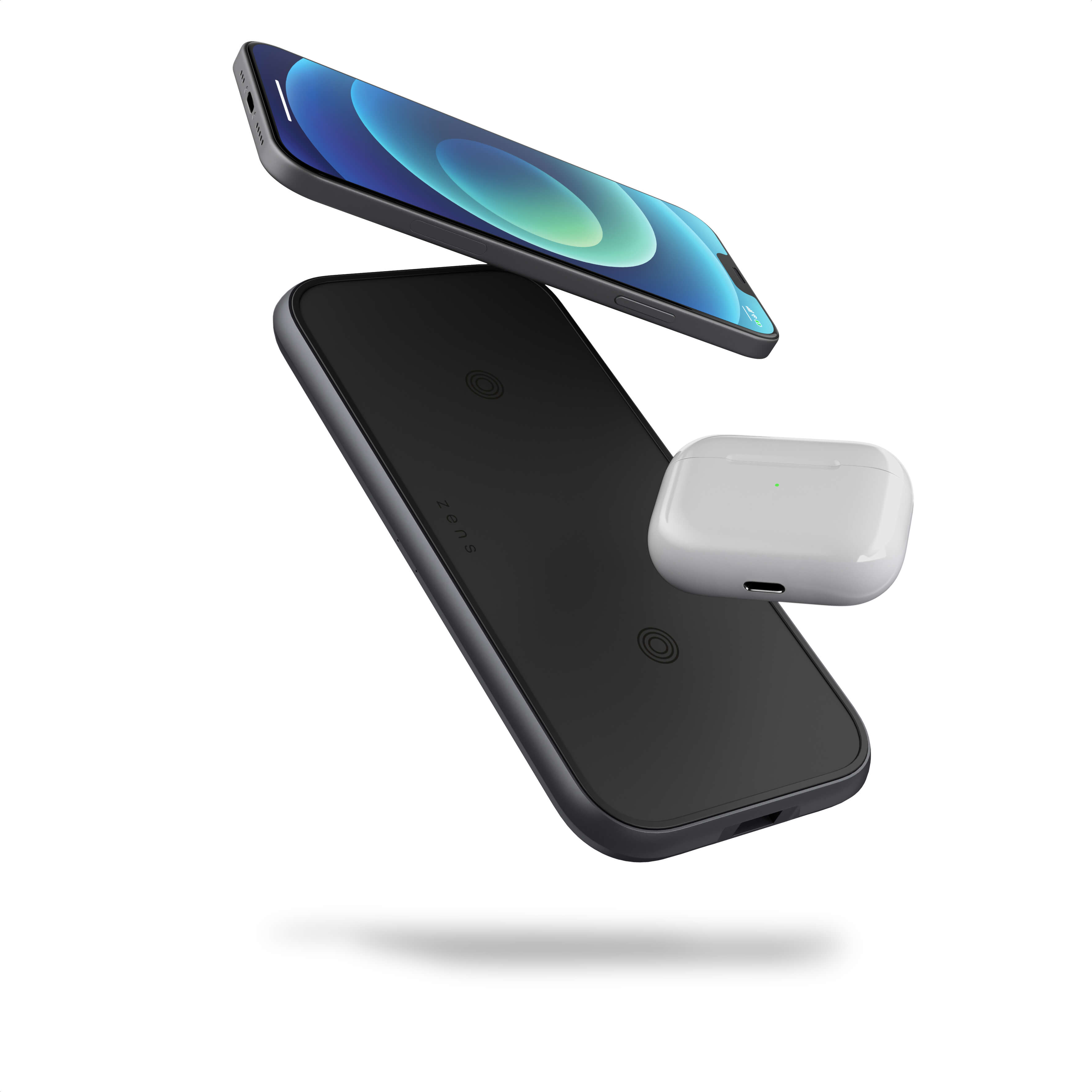 ZEDC10B - Zens Dual Aluminium Wireless Charger Floating Devices