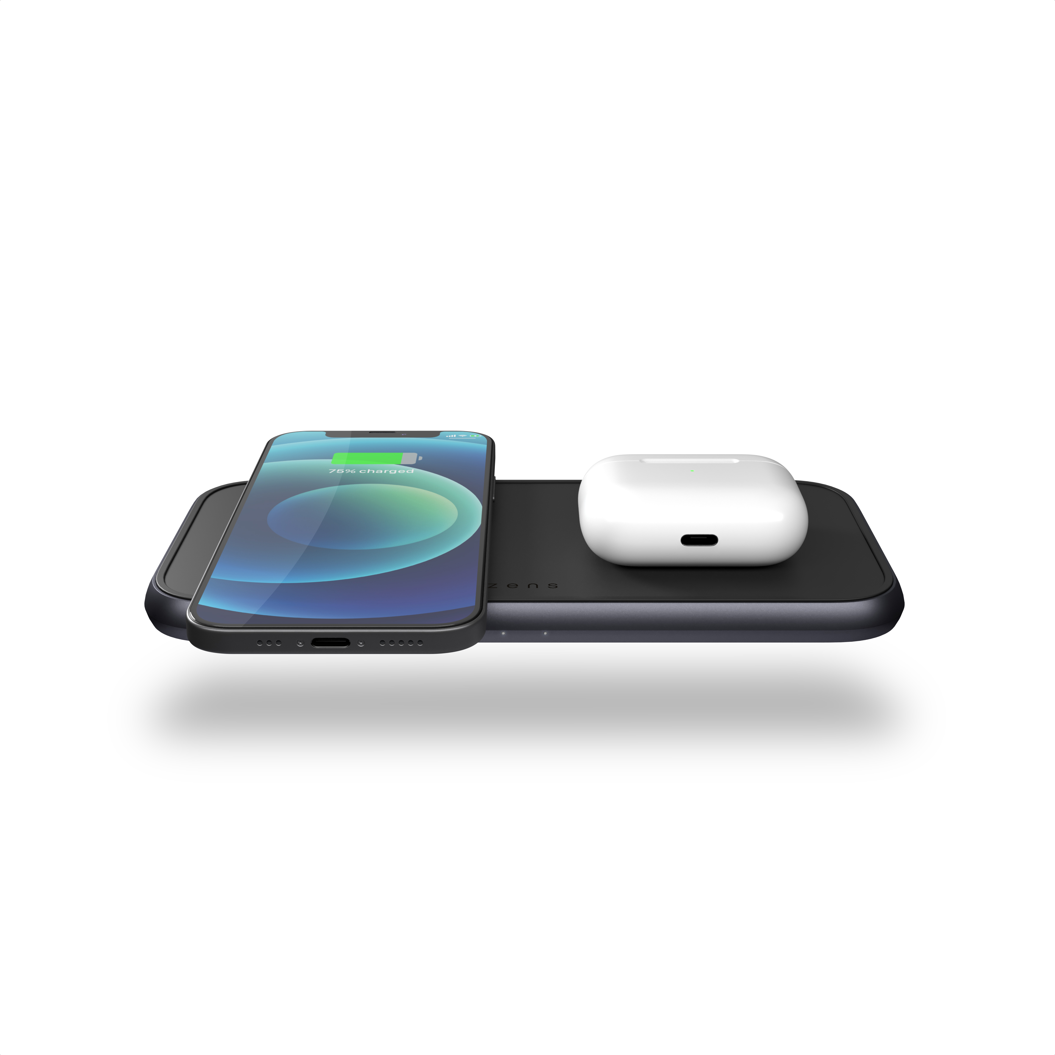 ZEDC10B - Zens Dual Aluminium Wireless Charger Front Top View with devices