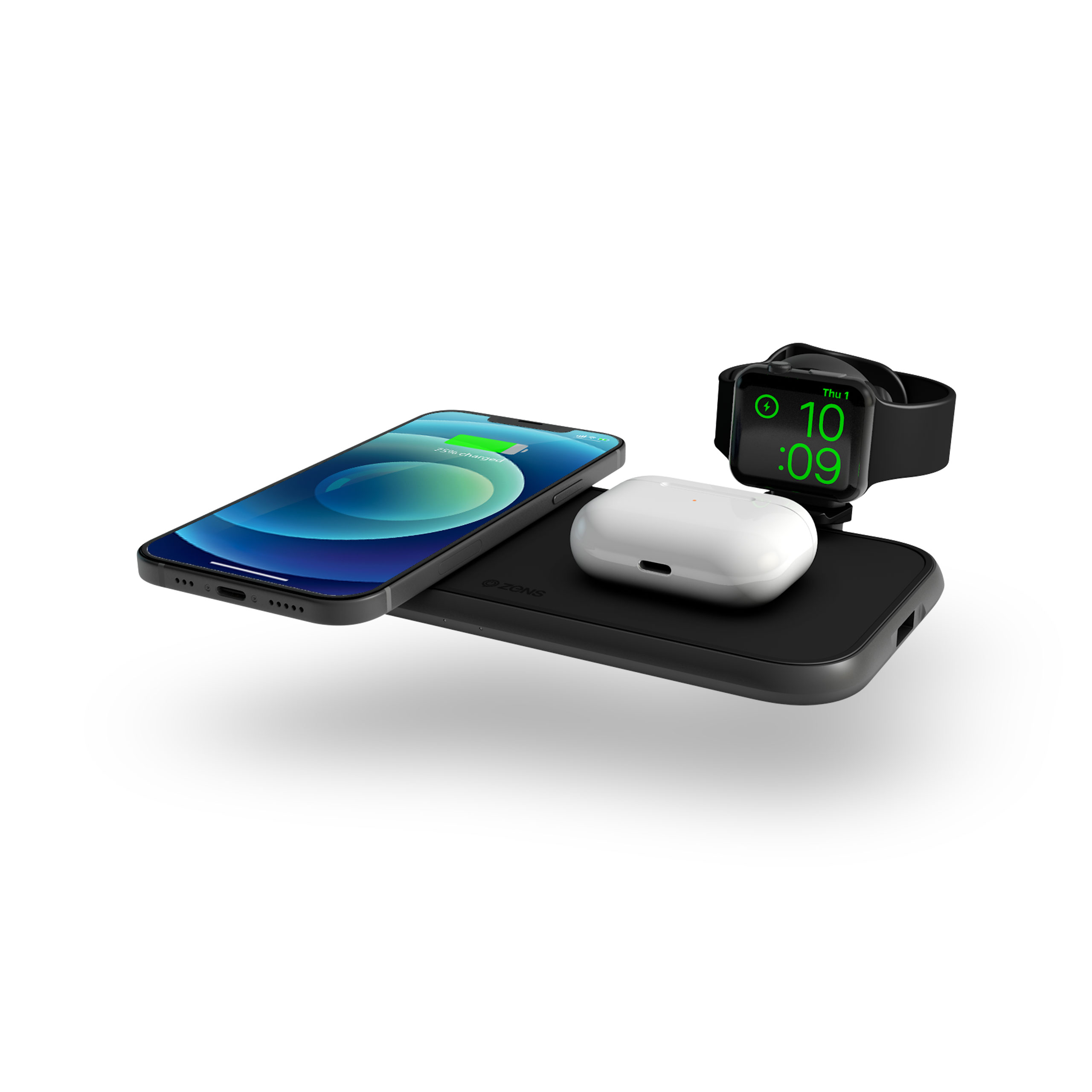 ZEDC14B - Zens 4-in-1 Wireless Charger Aluminium Top Side View with devices