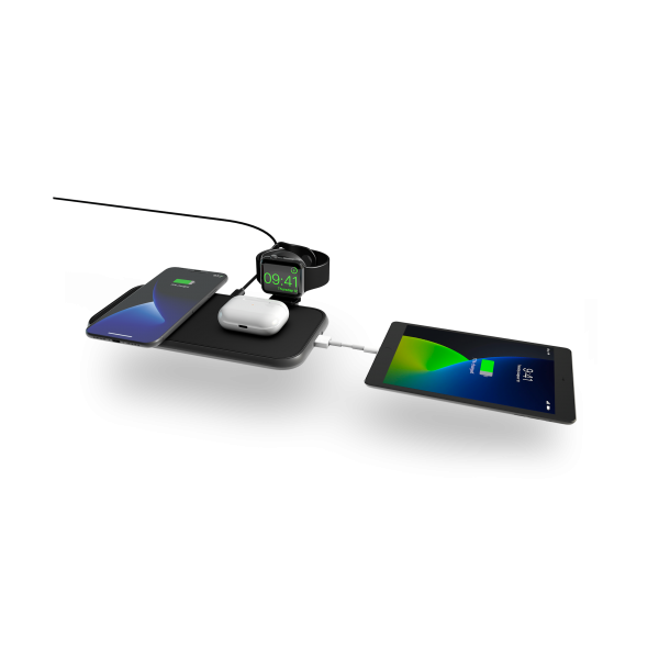 ZEDC14B - Zens 4-in-1 Wireless Charger Aluminium with devices