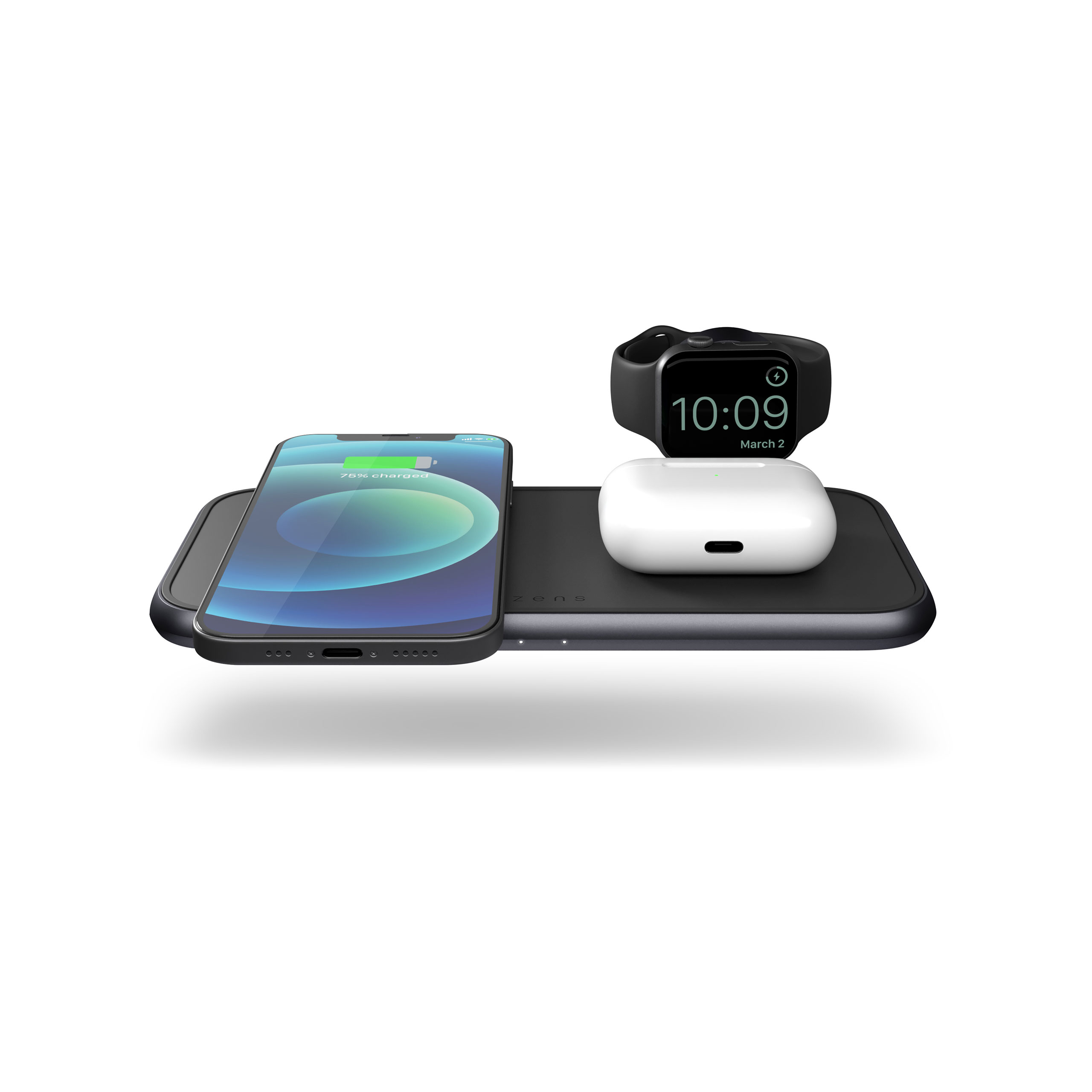 ZEDC14B - Zens 4-in-1 Wireless Charger Front Top View with devices