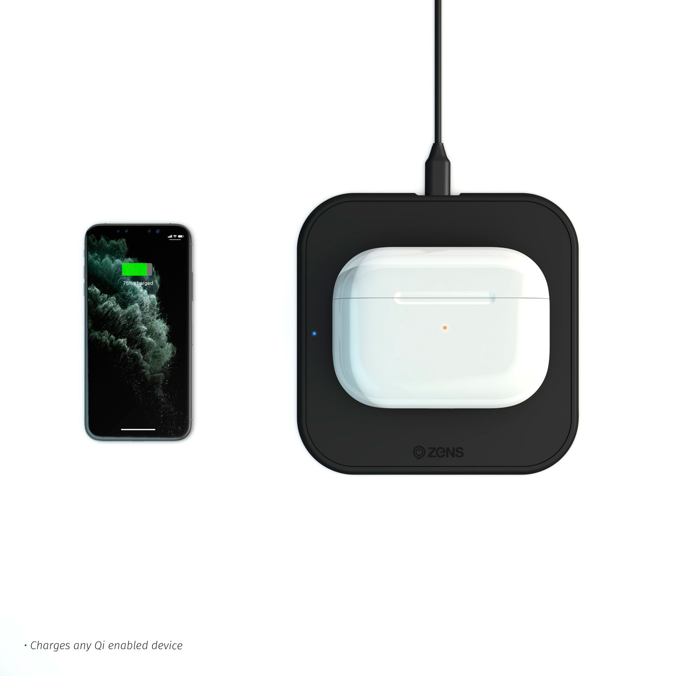 ZESC12BDP/00 - Zens iPhone Starter Pack Slim-line Wireless Charger while charging AirPods and iPhone device