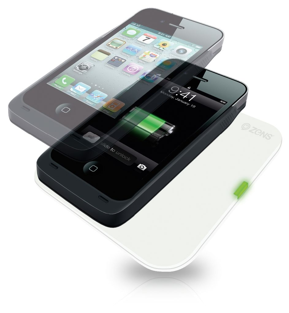 ZENS iPhone 4 / 4S Wireless Charging Case on a ZENS Single Wireless Charger White
