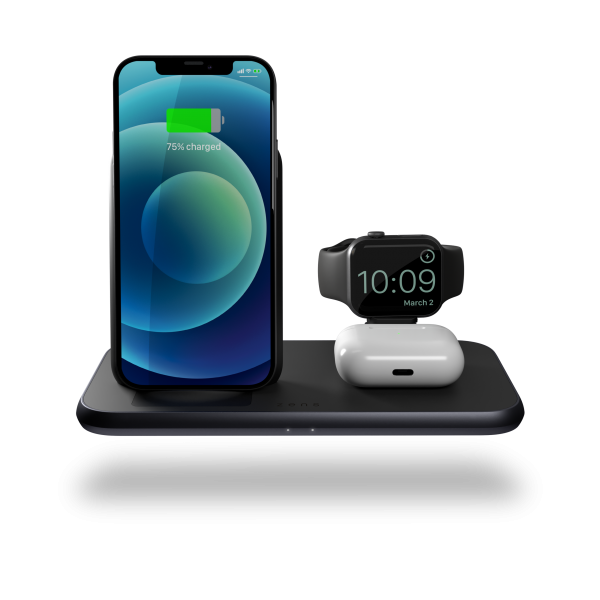 ZEDC15B - 4 in 1 Stand+Watch Wireless Charger Aluminium Front View with devices