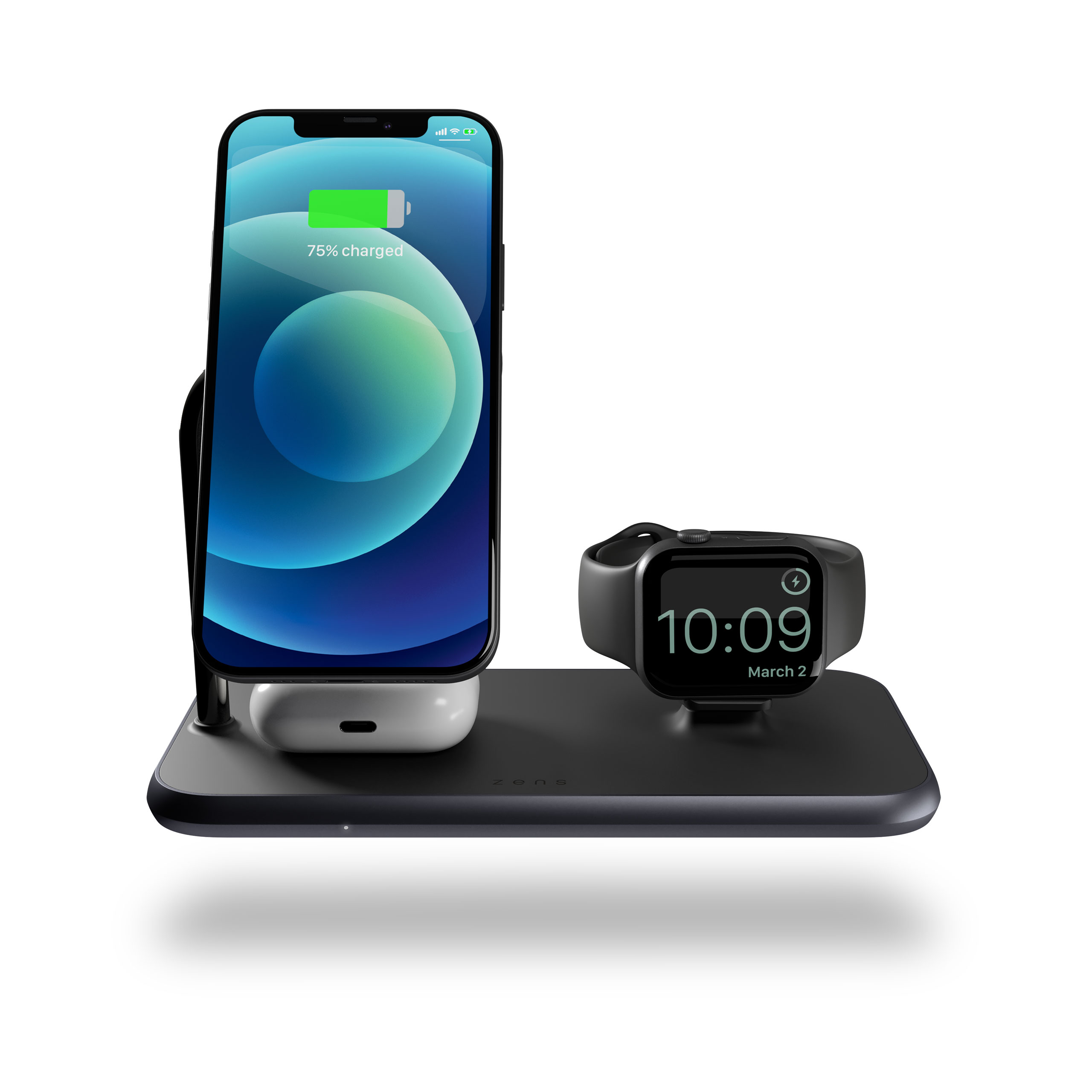 Magnetic + Watch Wireless Charger front view with devices