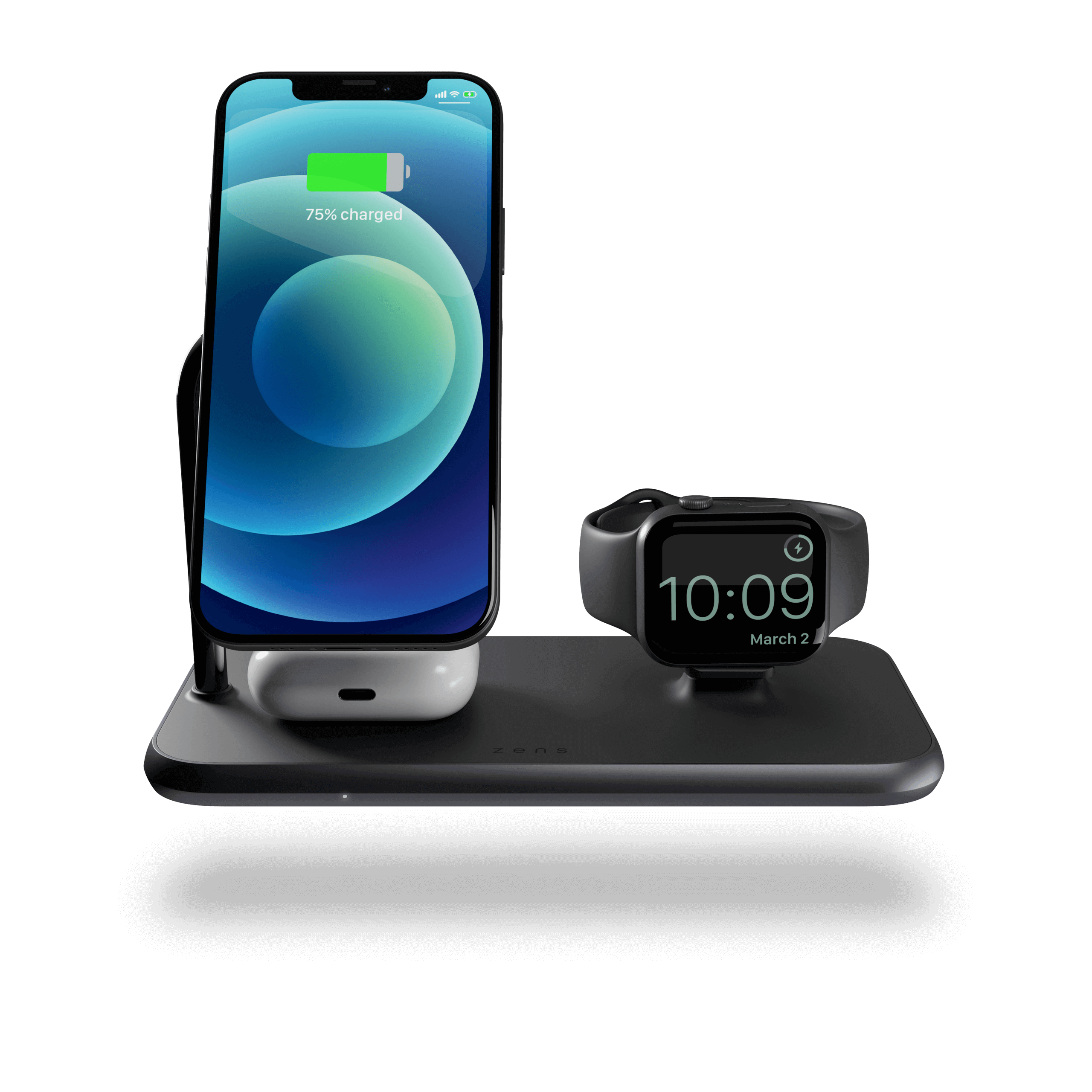 ZEDC18B - Magnetic + Watch Wireless Charger front view with devices