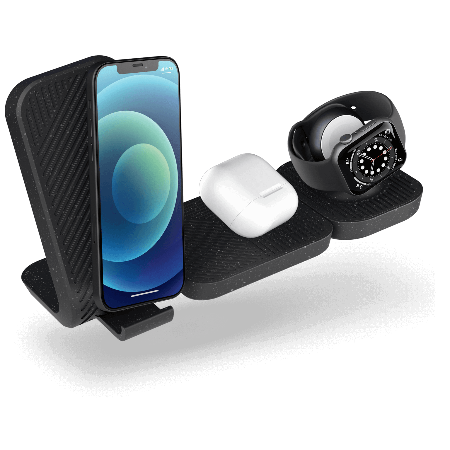 Modular wireless charger with iPhone 12 airpods and apple watch
