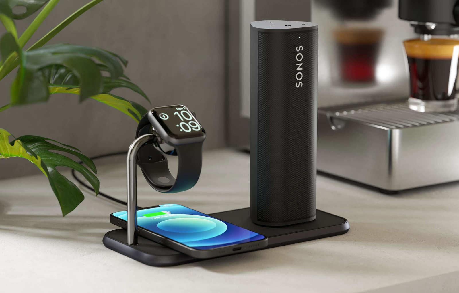 Aluminium Series wireless charging station charging Apple Watch, iPhone 12 and Sonos Roam