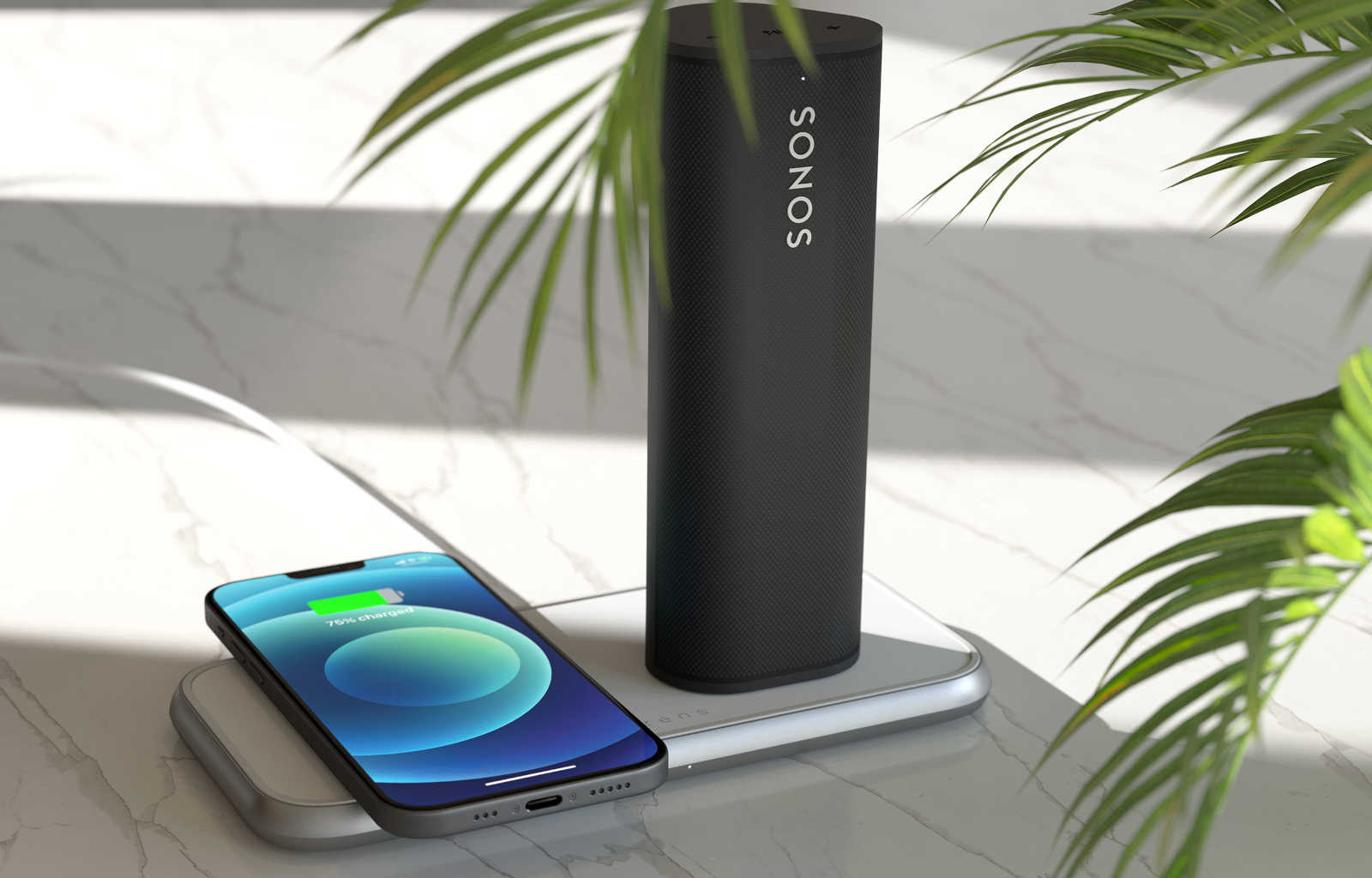 Aluminium dual charger charging iPhone 12 and Sonos Roam