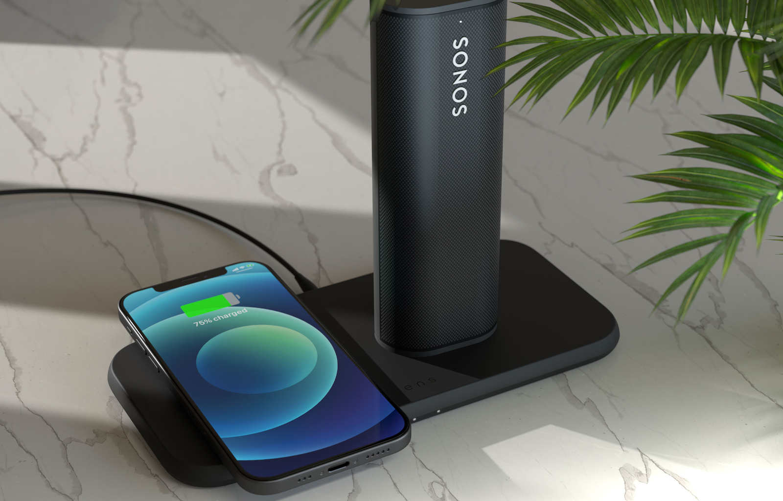 Essential dual wireless charger with iPhone and Sonos