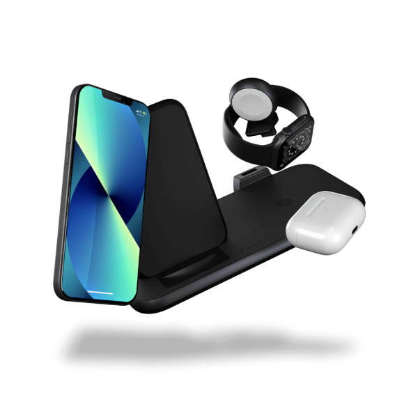 ZEDC15B - Zens Aluminium 4-in-1 Stand Wireless Charger with iPhone13