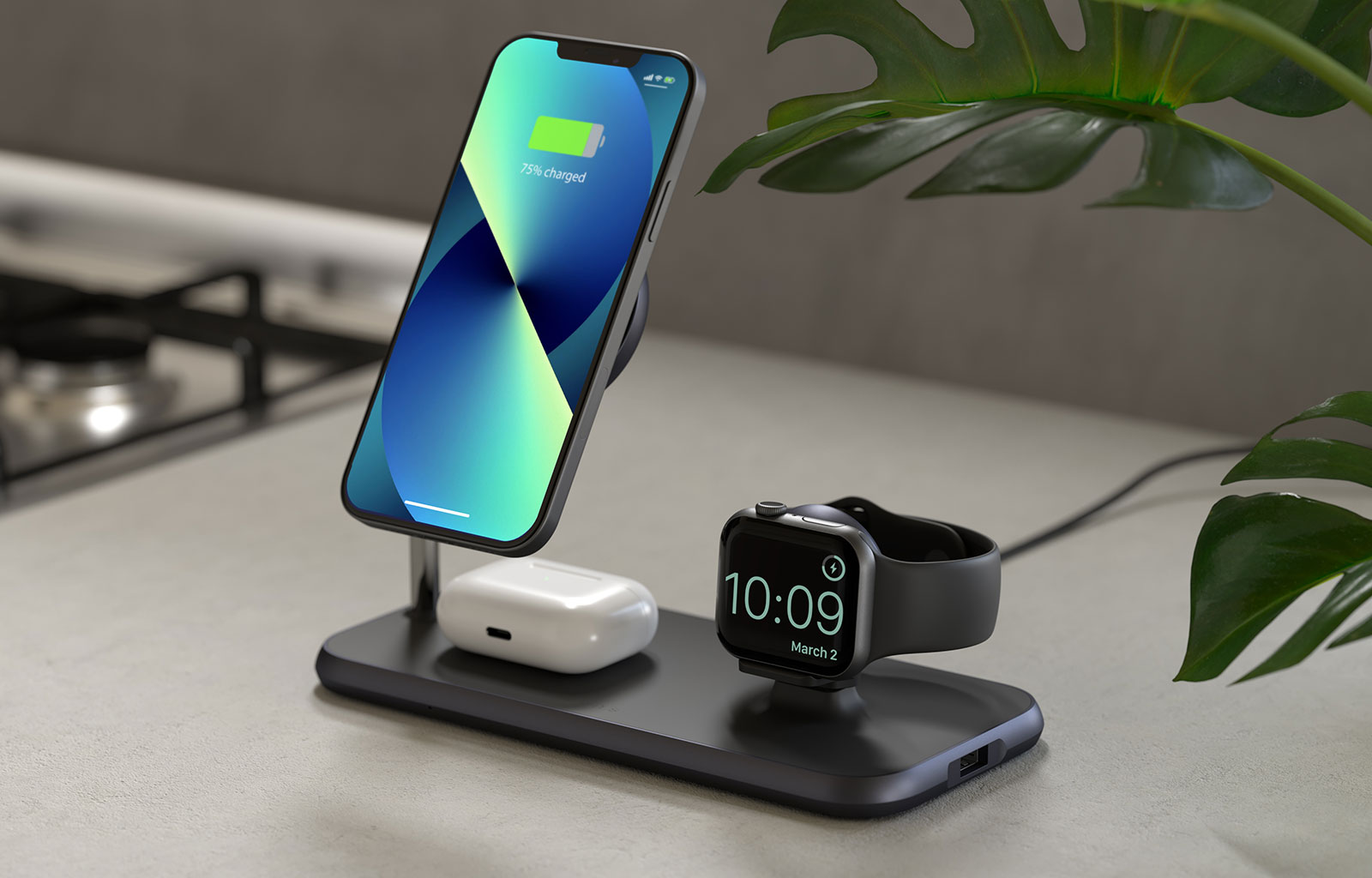 Magnetic+Watch wireless charger with iPhone 13